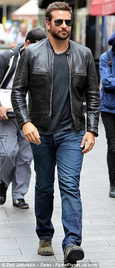 Bradley Cooper looked cool in a leather jacket and aviators filming his new movie with Sienna Miller in London http://dailym.ai/1togm5N