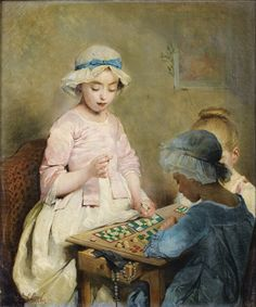 Young Girls Playing Loto by Charles Chaplin (French, 1825–1891)