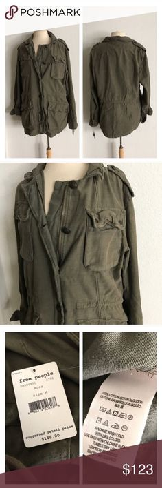 "Free People ""Not Your Brothers Surplus Jacket"" Free People ""Not Your Brothers Surplus Jacket"". Size M. Measures 30"" long with a 44"" bust. Zipper and button closures. Four large and functional pockets. This is a pretty heavy jacket!  Brand new with tags ($148) 💲Reasonable offers accepted ✅Bundle offers Free People Jackets & Coats"