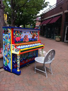 Fort Collins, Colorado  These beautiful pianos showed up in random places around town and always made me smile.
