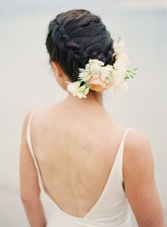 flowers in her braided hair... Photography by stewartleishman.com, Floral Design by helloblossoms.com.au