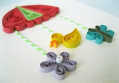 Quilled mobile on baby card
