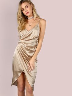 Satin Crepe Wrap Dress CHAMPAGNE