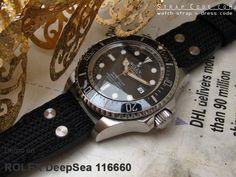 Rolex Deep Sea 116660 on 22mm MiLTAT Black Honeycomb Nylon IWC Big Pilot replacement Rivet Strap [22B18ZZZ00N9A10]