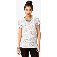FOREVER 21 Multicolored Cat Print Tee ($16) ❤ liked on Polyvore