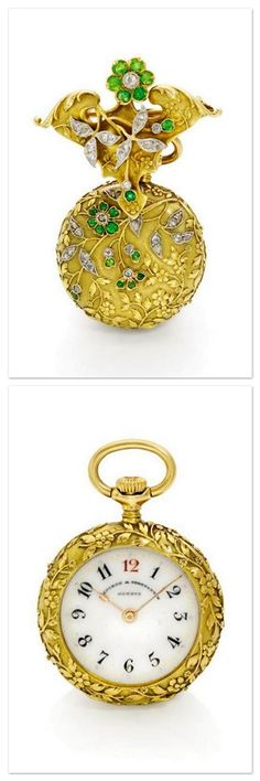 A LADY'S YELLOW GOLD, DIAMOND AND EMERALD-SET PENTANT WATCH WITH MATCHING BROOCH - CIRCA 1899