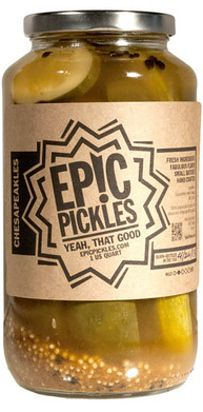 Each extra-crunchy spear from Epic Pickles is packed with the flavor of classic spice mix. One bite will transport you to the salty mid-Atlantic shore. Pickle Brands, Kosher Dill Pickles, Vinegar Cucumbers, Pickle Vodka, Best Pickles, Bloody Mary Bar, Vodka Recipes, Shot Recipes, Gastronomia