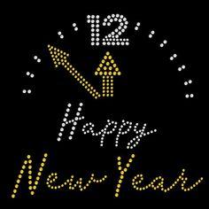 Clock New Year - SD2903 rhinestone transfer from www.heattransferwarehouse.com