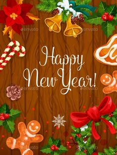 New Year Poster on Wooden Background