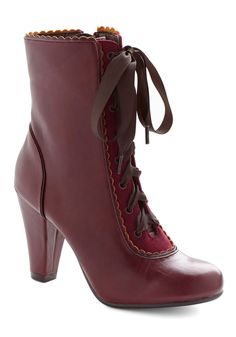 Flair-y Tale Boot in Burgundy. Make your dream of whimsical elegance come true by building your look around these charming heeled boots by Chelsea Crew! #red #modcloth
