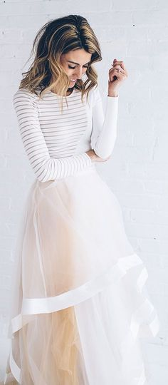 Nude Tulle Maxi Skirt with white lining, love that white long sleeved half (mesh? or tan?) striped shirt!!