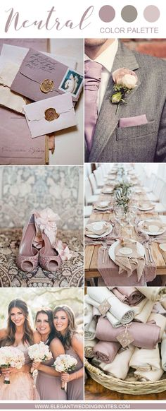 10 Swoon-Worthy Neutral Wedding Color Palette Ideas : Beautiful mauve and grey neutral shades wedding inspiration Neutral Wedding Colors, Mauve Wedding, Wedding Color Schemes, Wedding Bridesmaids, Neutral Colors, Neutral Palette, Wedding Motif Color, Lavender Grey Wedding, August Wedding Colors