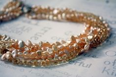 Golden Pearl and Genuine Citrine Torsade Statement Necklace Freshwater Pearl Multistrand Bridal Jewelry - pinned by pin4etsy.com
