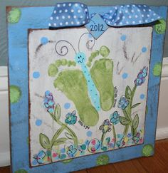 Butterfly Footprint Plaque - paintingmehappy