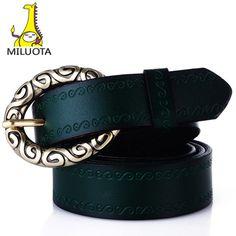[MILUOTA]  Fashion 100% Genuine leather women vintage belt pin buckle belts for women good quality Cowskin WND505
