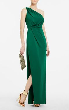 Green BCBG SNEJANA ONE-SHOULDER EVENING GOWN