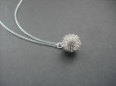 dandelion necklace  white gold plated by Lana0Crystal on Etsy, $18.00