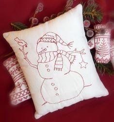 Primitive Redwork Snowman Pillow by CherieWheeler on Etsy Blackwork Embroidery, Christmas Embroidery, Hand Embroidery Patterns, Embroidery Applique, Cross Stitch Embroidery, Machine Embroidery, Embroidery Designs, Red Work Embroidery, Primitive Stitchery