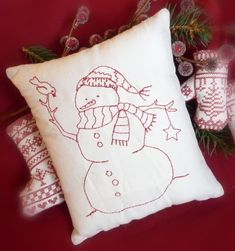 Red work - blue work - snowman - embroidery