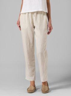 Linen Casual Ankle Length Pants