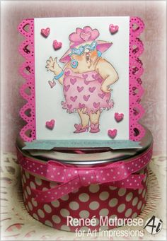 Art Impressions Rubber Stamps: Show The Love Set (Sku#4230) Handmade Valentine's Day chocolates gift tin with sort of a card on top.
