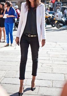 black trousers + black shirt + black belt + white/grey blazer + black heels