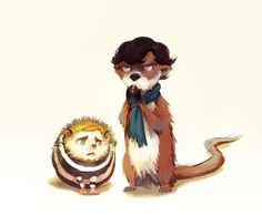 I don't know why, but Watson as a hedgehog and Holmes as an otter makes perfect…