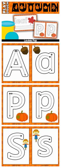 Autumn Alphabet and Seasonal words play dough mats. Perfect center activity for beginning writers! (Font graphics used with special permission.)