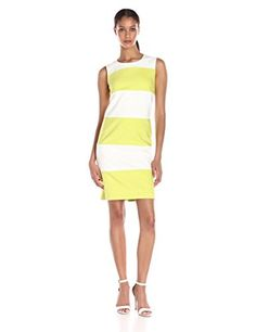 Anne Klein Womens Cotton Color Blocked Shift Dress WhiteSprout 12 * Click image to review more details.