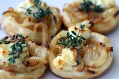 French in a Flash: Sweet Onion and Goat Cheese Tarts with Thyme