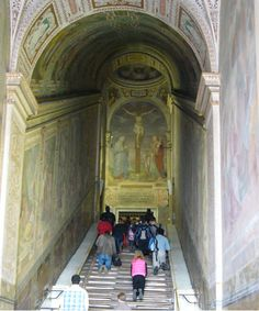 Scala Santa (Holy Stairs) - these twenty-eight marble stairs (brought to Italy in 326 A.D.) are said to be the steps Christ walked upon on his way to his trial before Pontius Pilate.