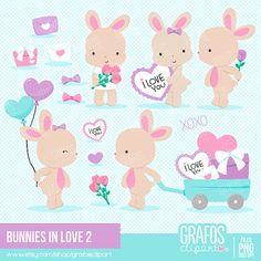 BUNNIES IN LOVE 2  Digital Clipart Set Bunnies Clipart