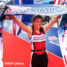 Stanford undergraduate Marissa Ferrante in the USA Triathlon Collegiate Nationals.