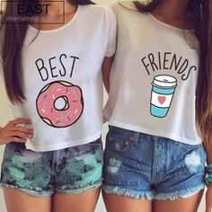 Hot summer printed tops - Book T Shirts - Ideas of Book T Shirts - Summer Women T-shirt Cute T Shirt Donut And Coffee Duo Flowy Print Funny Best Friends Tees Tshirt Couple Tops Blusas Best Friends, Best Friends T Shirt, Best Friend Outfits, Best Friends Forever, Friends Shirts, Funny Friends, Best Friend Clothes, Bff Clothes, Best Friend Stuff