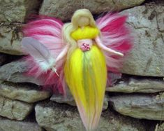 Items similar to Needle Felted Wool fairy, Flower fairy, Waldorf inspired fairy doll on Etsy