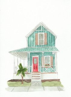 Original Hand Drawn Watercolor Custom House Portrait Painting, Our First Home Drawing, Paper Wedding Building Illustration, House Illustration, Watercolor Illustration, Watercolor Paintings, Wedding Illustration, House Drawing, House Design Drawing, House Sketch, Architecture Concept Drawings