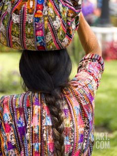 Absolutely LOVE these colors and patterns found on the huipiles of women in Solola, Guatemala :: Photographic Print by Bill Bachmann at Art.com