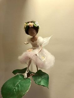 Needle felted Fairy Waldorf inspired Ballerina tie the