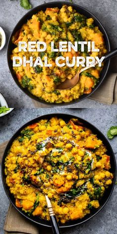 This hearty one-pot dhal curry is packed with red lentils, chickpeas, butternut squash and spinach and ready in just 25 minutes. Lentil Recipes, Veg Recipes, Curry Recipes, Indian Food Recipes, Vegetarian Recipes Lentils, Cooking Recipes, Healthy Recipes, Dhal Curry, Veg Curry