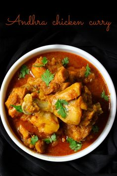 Andhra chicken curry is a delicious,tempting and mouthwatering recipe.The two main ingredients which make this recipe so special are coconut and poppy seeds Indian Chicken Recipes, Veg Recipes, Curry Recipes, Indian Food Recipes, Asian Recipes, Vegetarian Recipes, Cooking Recipes, Delicious Recipes, Chicken