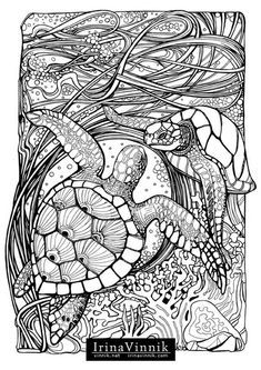 Manic Botanic, Zifflin's Tension Taming Coloring book, invites you to get in touch with nature in all of its glory. In incredible detail, Vinnik has captured some of nature's most dynamic duos. Time slows down so you can explore the undergrowth, and al Colouring Pics, Animal Coloring Pages, Coloring Book Pages, Printable Coloring Pages, Coloring Sheets, Photo Charms, Colorful Pictures, Line Drawing, Line Art