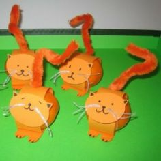 Poesje gemaakt van een mandarijn - Leuk als traktatie tijdens de Kinderboekenweek 2014 bij het prentenboek Feestbeesten.