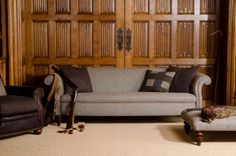 Home Furniture | Sofa | Tetrad | Harris Tweed - Bowmore Sofa - Displayed in Heather Harris Tweed and Brompton Tan hide piping. Available in-store at Shackletons Home & Garden.