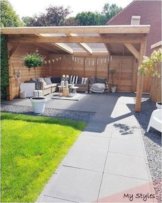 Backyard ideas, create your unique awesome backyard landscaping diy inexpensive on a budget patio – Small backyard ideas for small yards Cozy Backyard, Backyard Patio Designs, Backyard Pergola, Backyard Ideas, Patio Ideas, Pergola Ideas, Pergola Kits, Garden Ideas, Backyard Storage