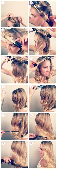 DIY Vintage Waves Tutorial hair waves hairstyle tutorial diy hair hair tutorial diy hair styles easy diy diy ideas Grace Kelly look Ombré Hair, Hair Day, Wavy Hair, Curls Hair, Pin Curls, Loose Curls, Red Hair, Hair Updo, Easy Curls