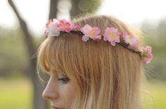 Corona de flores rosa y blanca de distinto por TheLittleNemo
