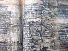 https://flic.kr/p/qXBbN6 | lines and place names | altered crossword dictionary, wax, paint.  Linien und Ortsnamen. verändertes Kreuzworträtsel-Wörterbuch, Wachs, Farbe.
