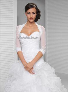 Elegante bruidsbolero met 3/4 mouwen. Geschikt ook voor een gala gelegenheid. Materiaal: flexibele tule. Kleuren: wit of zwart Maten: S/M, L/XL en XXL/XXXL  -
