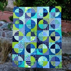 Blue and green quilt top