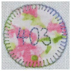403 Pimpernel - Backstitch & blanket stitch. Application of fabric circle.